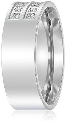 8mm Polished Stainless Steel CZ Engagement Wedding Band Men Ring