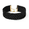 Women's Vintage Gothic Black Sequins Rhinestone Wide Velvet Choker Necklace