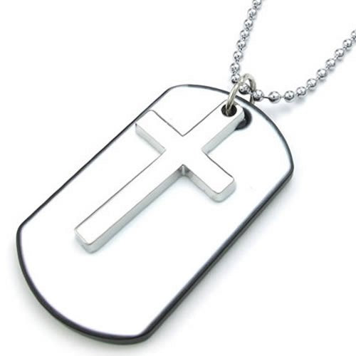 Men Women Army Style Cross Dog Tag Pendant Necklace, 27 inch Chain, White Silver