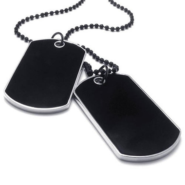 Army Style 2pcs Name Dog Tag Pendant Men Necklace, Black Silver, 27 inch Black Chain