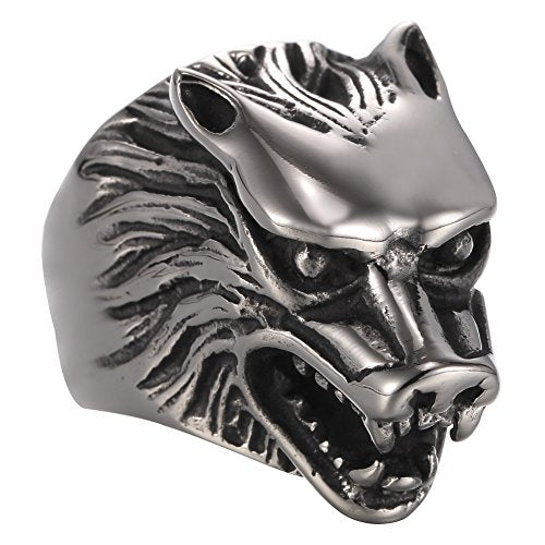Wolf Head Stainless Steel Men's Ring Gothic Biker,Silver black