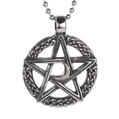 Stainless Steel Lucky Star with Moon of David Pendant Men Women Necklace+free 24 Inch Chain