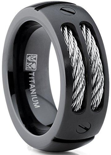 8MM Men's Black Titanium Ring Wedding Band with Stainless Steel Cables and Screw Design Sizes 7 to 13