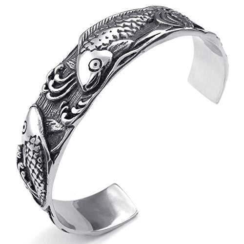 Men Women Stainless Steel Bracelet, Vintage Carp Fish Cuff Bangle, Black Silver
