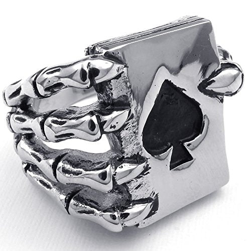 Men Stainless Steel Ring, Gothic Skull Hand Claw Poker Playing Card, Black