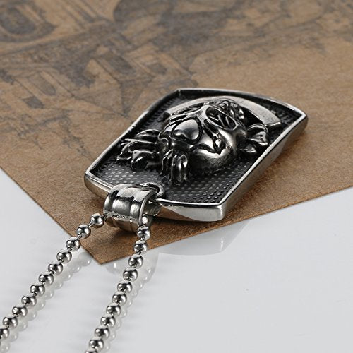 Stainless Steel Army Style Dog Tag Eagle Pendant Mens Necklace, Color Black Silver, 24inch Chain