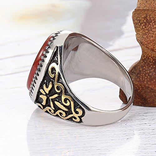 18k gold plated Stainless Steel gem Men Classic oval ring Olympic Games torch ring, gold Silver