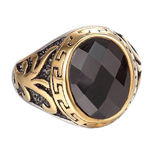 Gold Plated Stainless Steel Vintage Black Crystal Ring Band,Black Gold