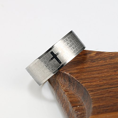 Men Women 8 mm Stainless Steel Ring, English Lord's Prayer Cross Band, Silver