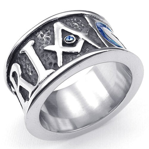 Men Cubic Zirconia Stainless Steel Ring, Freemason Masonic, Black Blue