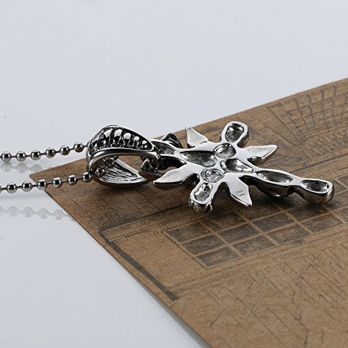 Large Stainless Steel Men Skull Cross Pendant Necklace Silver Black Free of Charge 24 ''Chain