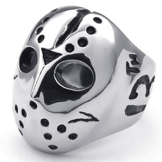 Polished Stainless Steel Men Ring, Halloween Jason Mask Band Black
