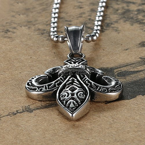 Men's Titanium Steel 316l Diamond Cross Pendant Necklace 24''