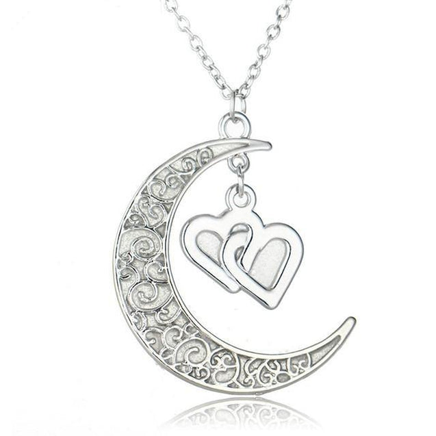 Luminous Glow In the Dark Necklace Moon Shape Pendant