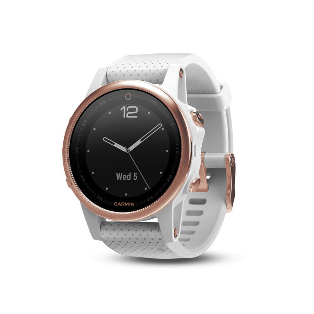 GARMIN fenix 5S Sapphire Rose Goldtone with White Band GPS Multi-Sport Watch (010-01685-16)