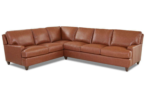 Dempsey Contemporary Track Arm Leather Sectional