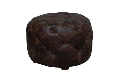 "Earle ""Quick Ship"" Small Round Leather Tufted Ottoman OUT OF STOCK UNTIL 8/30"