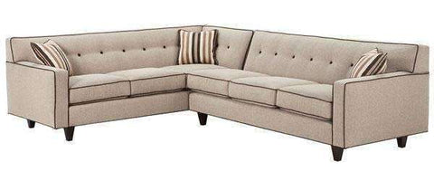 Fabric Sectional Sofa Margo 2-Piece Mid Century Modern Button Back Fabric Sectional (As Configured)