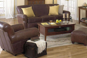 Parker Leather Manhattan Style 3 Piece Living Room Sofa Set