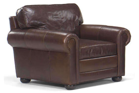 Leather Furniture Sheffield Large Leather Club Chair With Rolled Arms