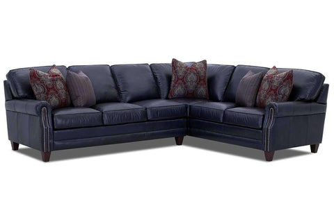 Living Room Oswald Leather Sectional With Decorative Nailhead Trim