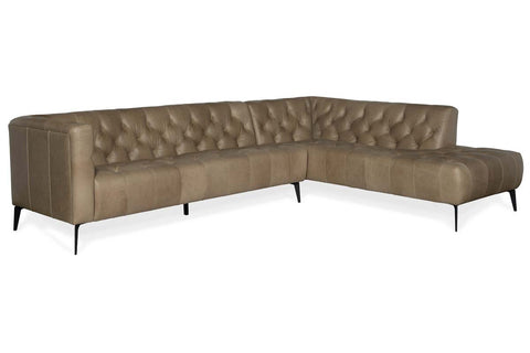 "Mariano Right Bumper Chaise ""Quick Ship"" Tufted Leather Sectional"