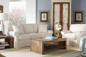 "Sofa Christine Collection - Christine ""Quick Ship"" 3-Piece Slipcover Queen Sleeper, Chair & Ottoman Set"