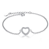 Authentic Women Infinity Bracelet 925 Sterling Silver CZ Crystal Charm - Necklace for Her