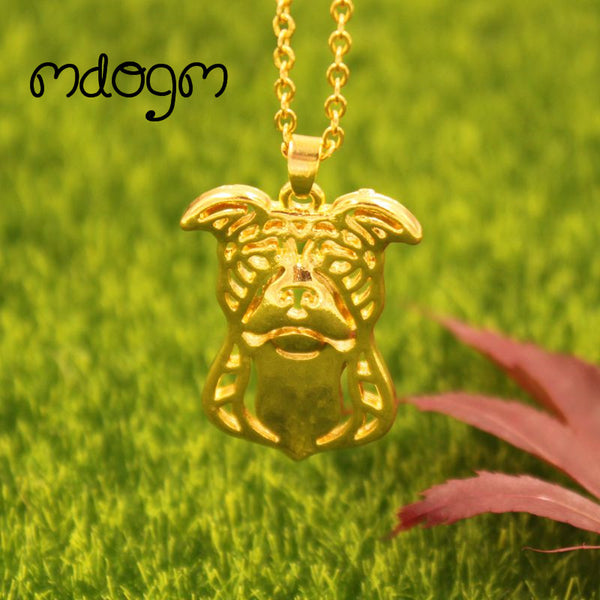 American Pitbull Necklace Dog Pendant Gold, Silver Plated Jewelry For Unisex - Necklace for Her