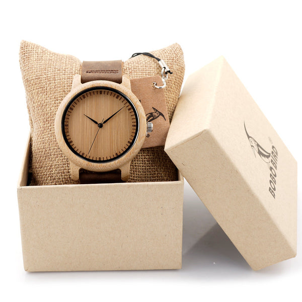 Luxury Brand BOBO BIRD Men Bamboo Wood Watches Men and Women Quartz Clock - Necklace for Her