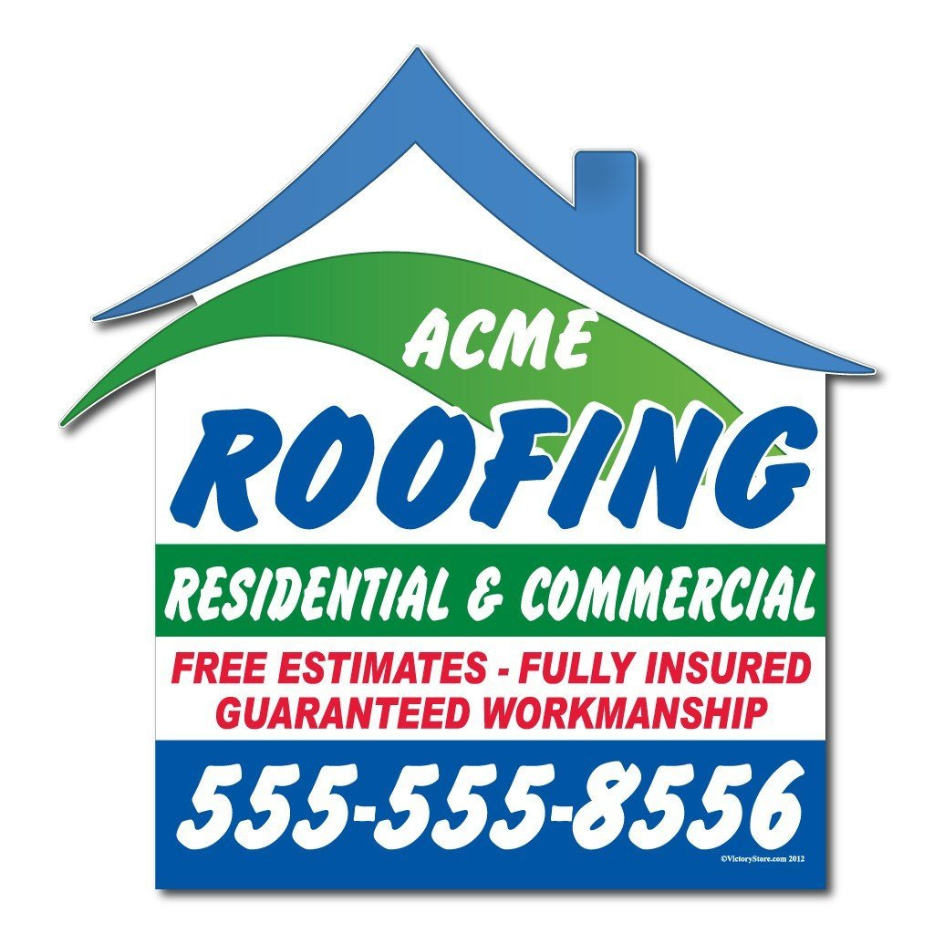 Roof Shaped Over-the-top Yard Sign with Frame Roof Shape #1