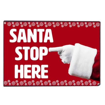 Santa Stop Here Christmas Door Mat