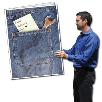 3' Tall Giant Father's Day Card with Envelope - Jeans Pocket and Note