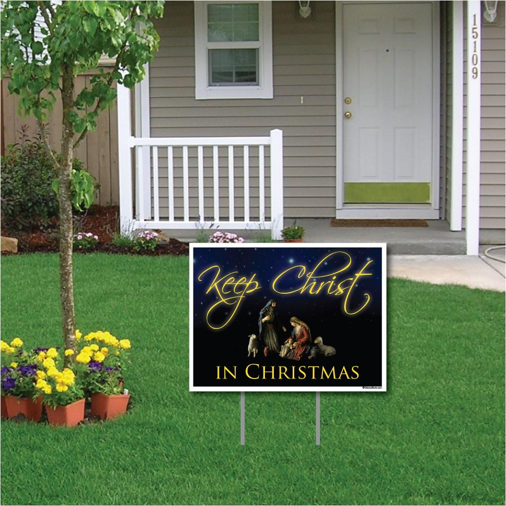 Keep Christ in Christmas Lawn Display (Black Design) Yard Sign Decoration - FREE SHIPPING