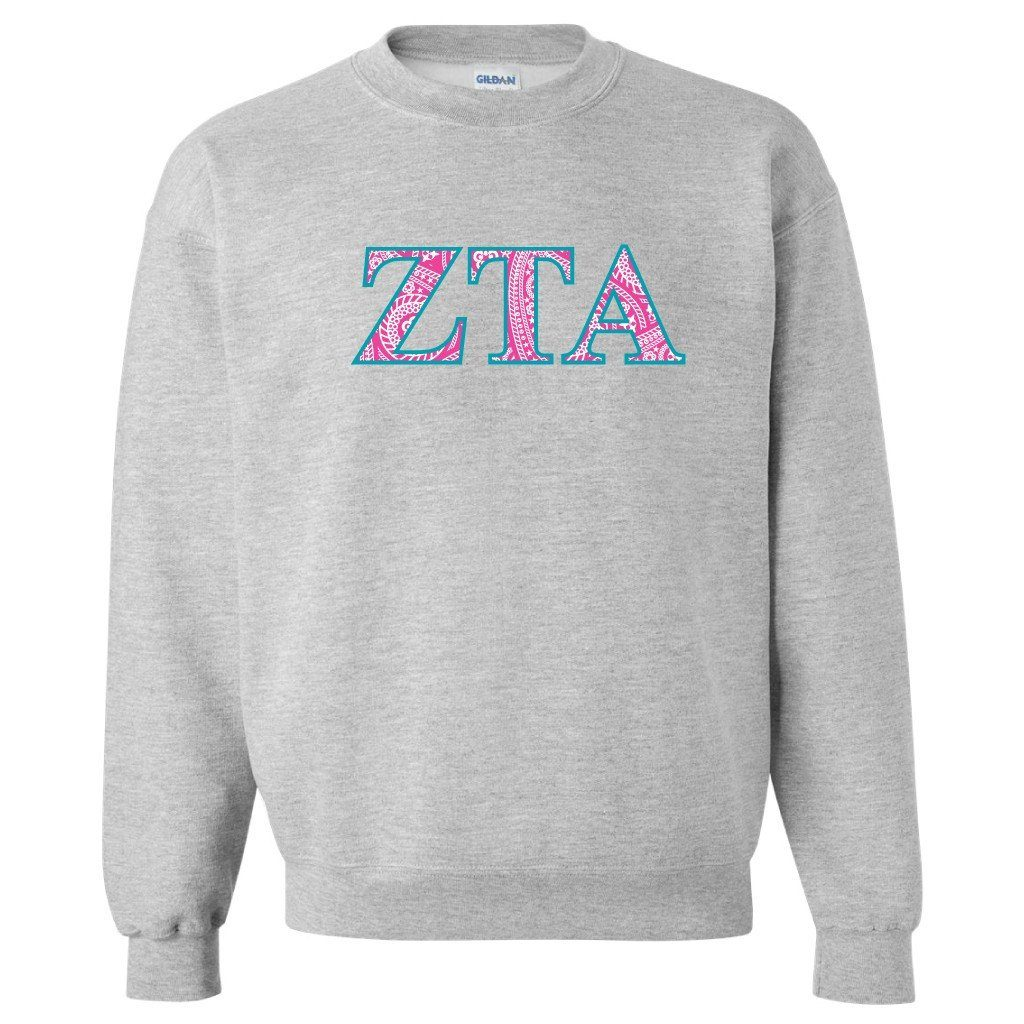 Zeta Tau Alpha Sport Gray Crewneck Sweatshirt Greek Letter FREE SHIPPING
