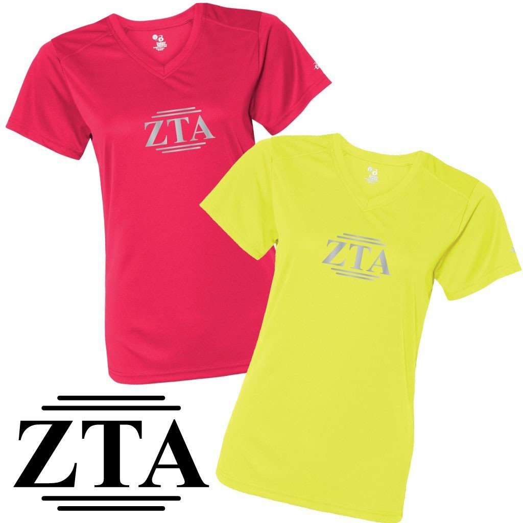 Zeta Tau Alpha Women's SafetyRunner Reflective V-neck Performance Shirt - FREE SHIPPING