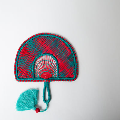 Two-Tone Tassel Fan, turquoise/red