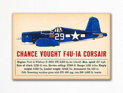 Chance Vought F4U-1A Corsair WWII Aircraft Illustration Fridge Magnet