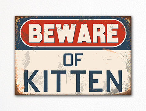 Beware of Kitten Cute Cat Themed Refrigerator Magnet