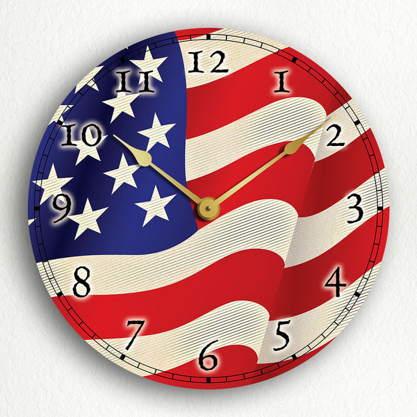 "Flag of the United States of America USA American Flag 12"" Silent Wall Clock"