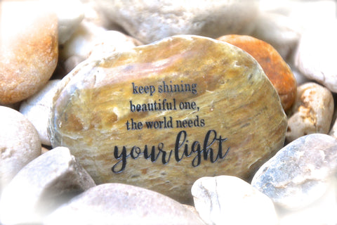 Inspirational Quotes Engraved Rock. Gift of Encouragement