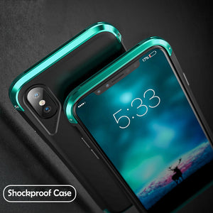 Phone Case - Luxury Armor Metal Shockproof + Tempered Glass Cover Case For iPhone X