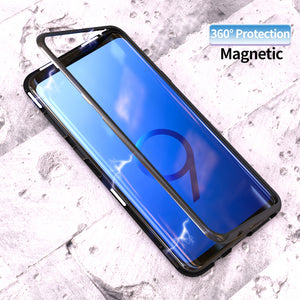 Phone Case - Metal Built-in Magnetic Adsorption + Glass Back Cover For Samsung S9 S9 Plus S8 S8 Plus Note 8 S7 S7 Edge