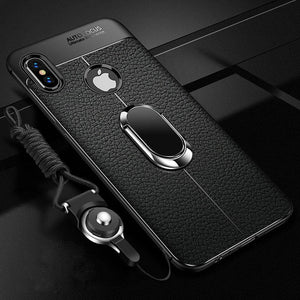 Phone Case - Shockproof Rugged Soft Silicone Leather Cover With Magnetic Ring Bracket & Strap For iPhone X XR XS XS Max i7 i8 i6 i6S Plus