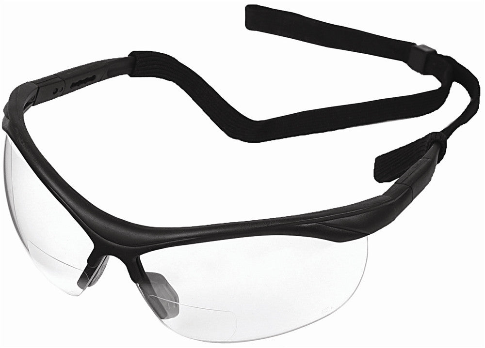ERB Black/Clear +2.0 Bifocal Safety Glasses #16872