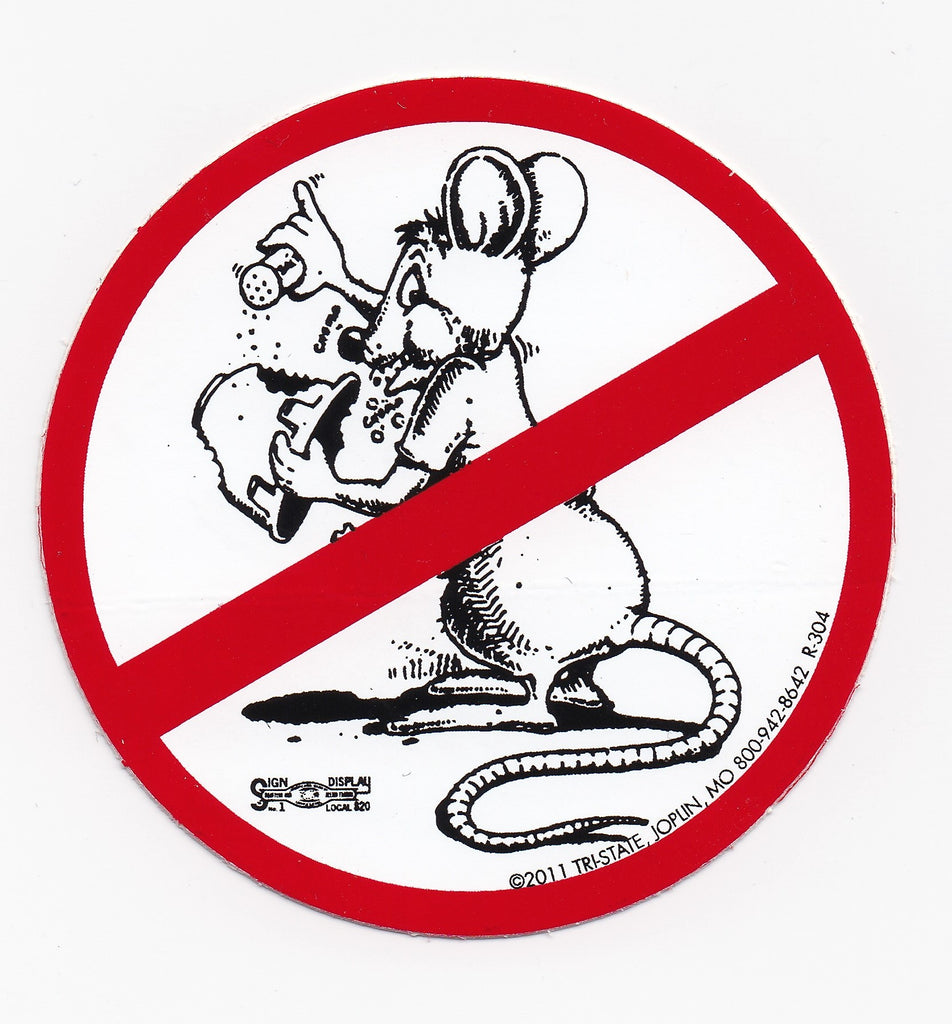 'No Happy Rat' Hard Hat Sticker #T75