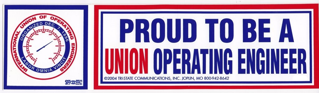 'Proud to be Union Operating Engineer' Hard Hat Sticker #M11
