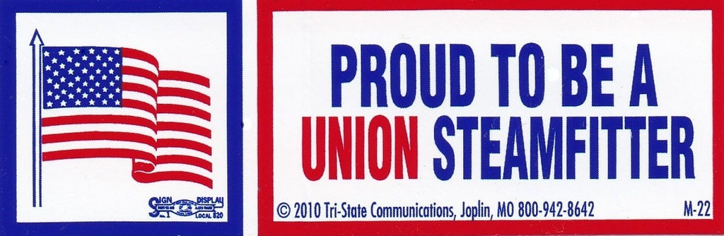 'Proud to be Union Steamfitter' Hard Hat Sticker