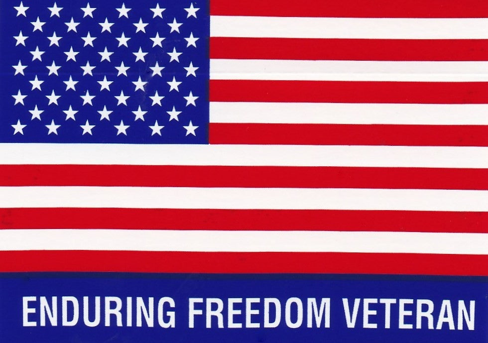 'Enduring Freedom Veteran' American Flag Hard Hat Sticker