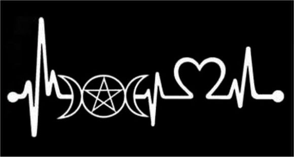 Heartbeat Triple Goddess Pentacle Decal - Silver
